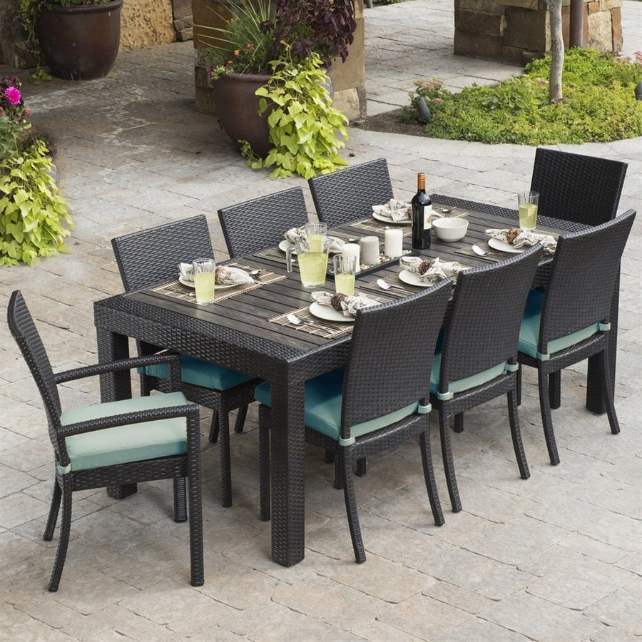 RST Brands Deco 9 Piece Wood Frame Wicker Patio Dining Set With Ginkgo  Sunbrella Cushions