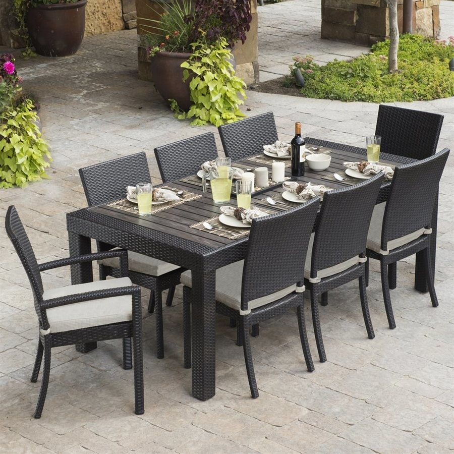 Rst Brands Deco 9 Piece Brown Wood Frame Wicker Patio Dining Set With Slate Grey Cushions