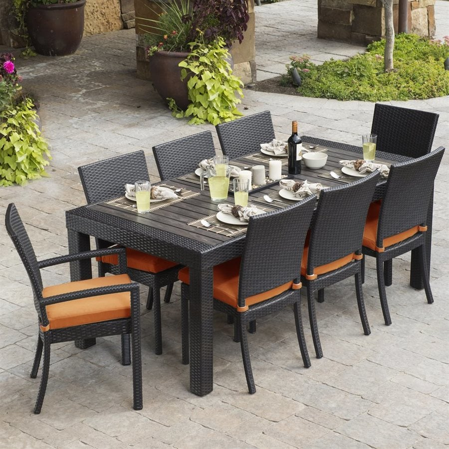Rst Brands Deco 9 Piece Brown Wood Frame Wicker Patio