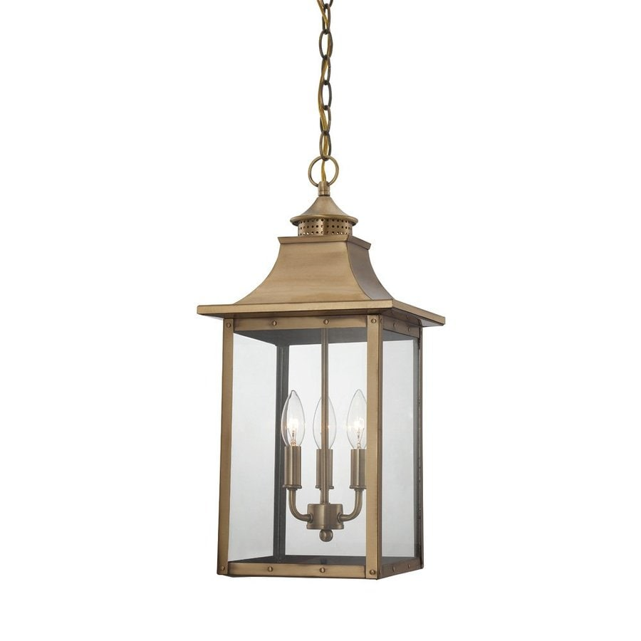 Porch Light Pendant: Shop Acclaim Lighting St. Charles 16-in Aged Brass Outdoor