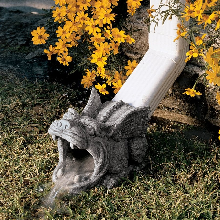 Design Toscano Roland The Gargoyle 10.5-in Stone Resin Downspout Extension