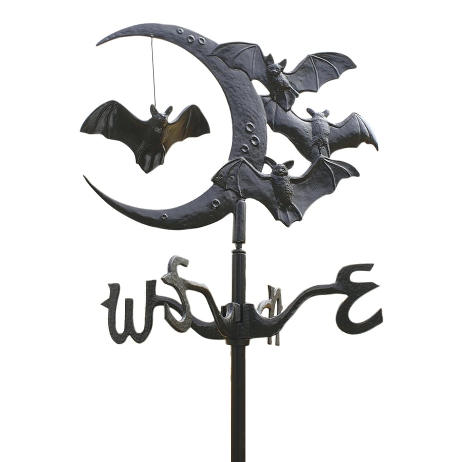 Design Toscano Black Satin Aluminum Freestanding Crescent Moon and Vampire Bats Weathervane