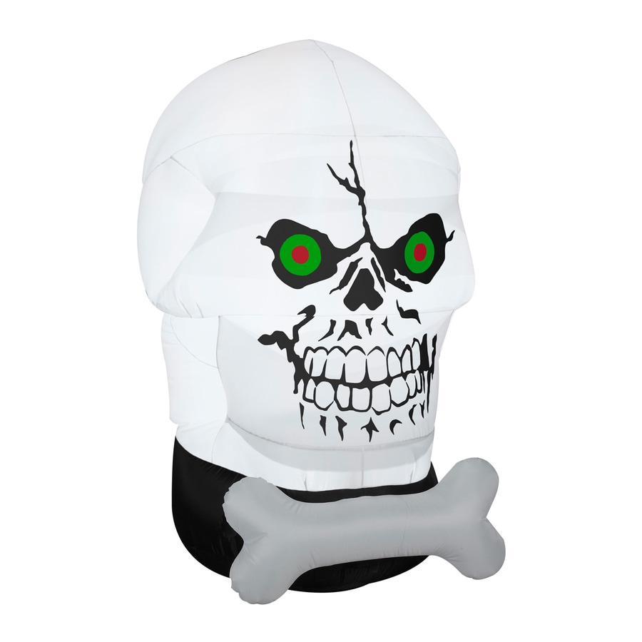 Gemmy Gotham Skull Face 5.51-ft x 4.85-ft Lighted Halloween Inflatable