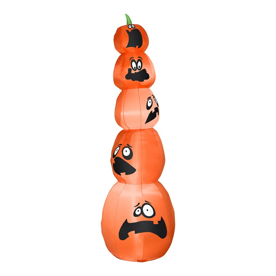 Gemmy 8.01-ft x 2.36-ft Lighted Jack-O-Lantern Stack Halloween Inflatable