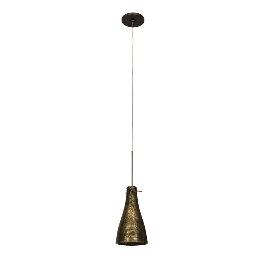 Access Lighting Cavo 4.75-in W Bronze Mini Pendant Light with Tinted Glass Shade