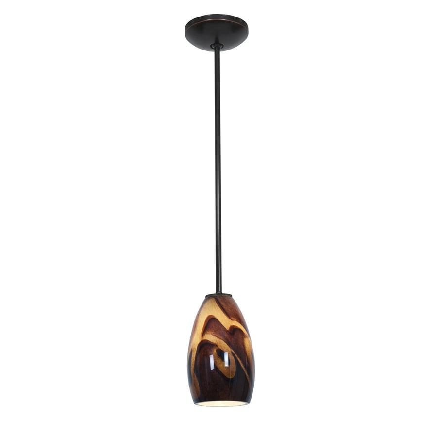Access Lighting Inari Silk 5-in Oil-Rubbed Bronze Mini Art Glass Teardrop Pendant
