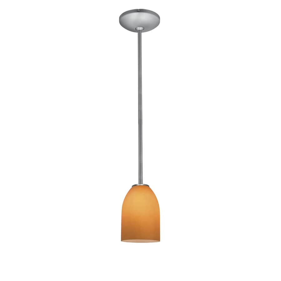 Access Lighting Inari Silk 5.25-in Brushed Steel Mini Bell Pendant