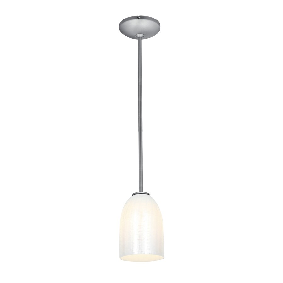 Access Lighting Inari Silk 5.25-in Brushed Steel Mini Art Glass Bell Pendant