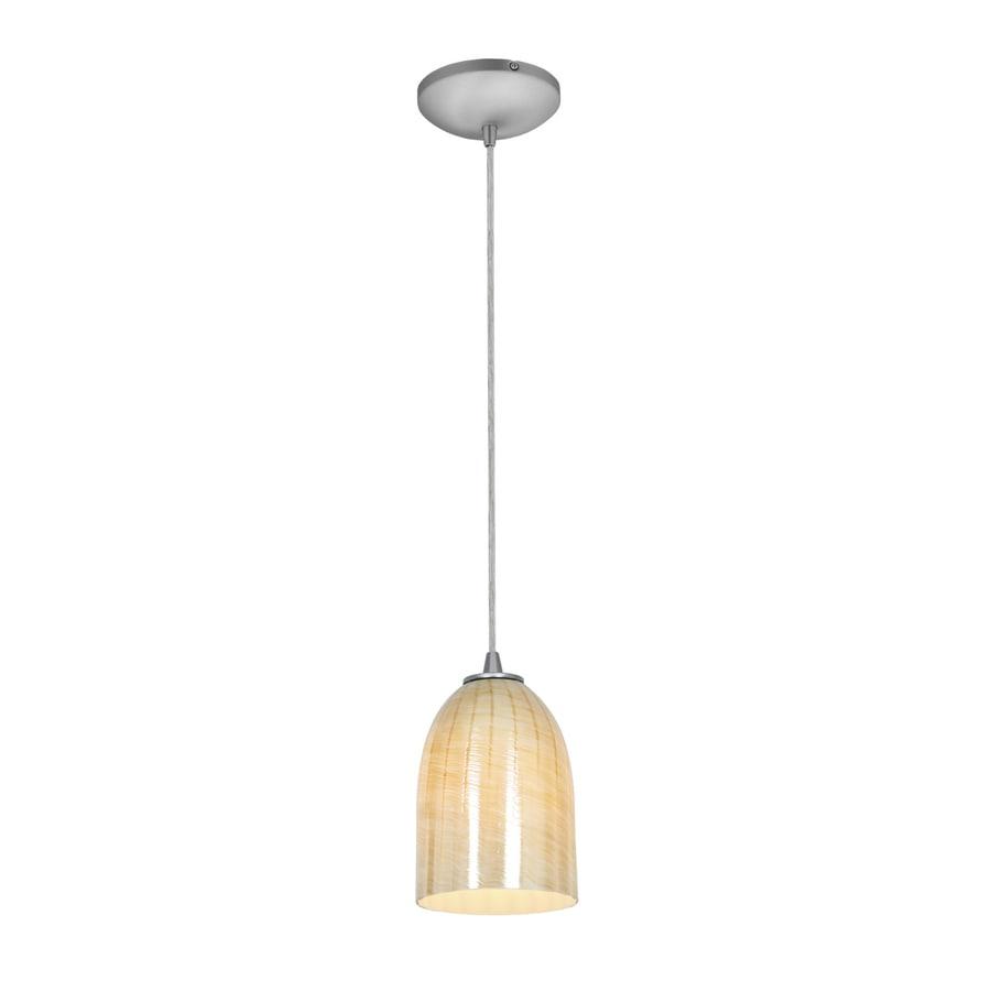 Access Lighting Inari Silk 5.25-in Brushed Steel Mini Art Glass Bell Pendant