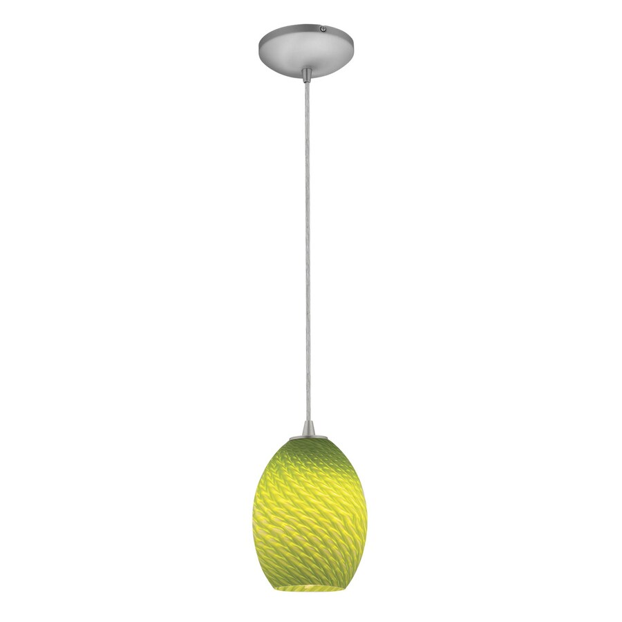 Access Lighting Tali 6-in Brushed Steel Mini Art Glass Teardrop Pendant