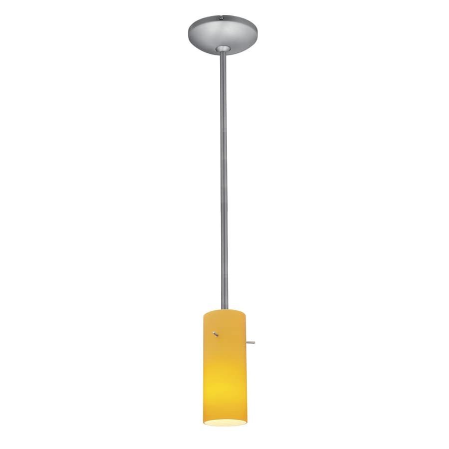 Access Lighting Janine 4-in Brushed Steel Mini Cylinder Pendant