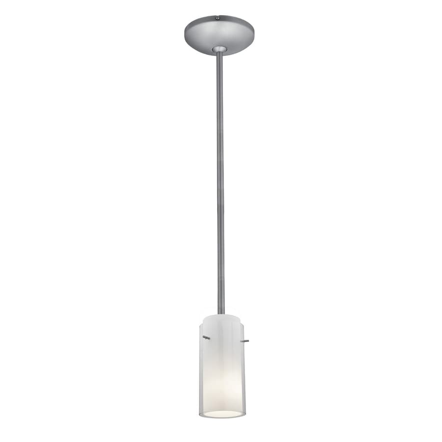 Access Lighting Glass 'N Glass 4.5-in Brushed Steel Mini Cylinder Pendant