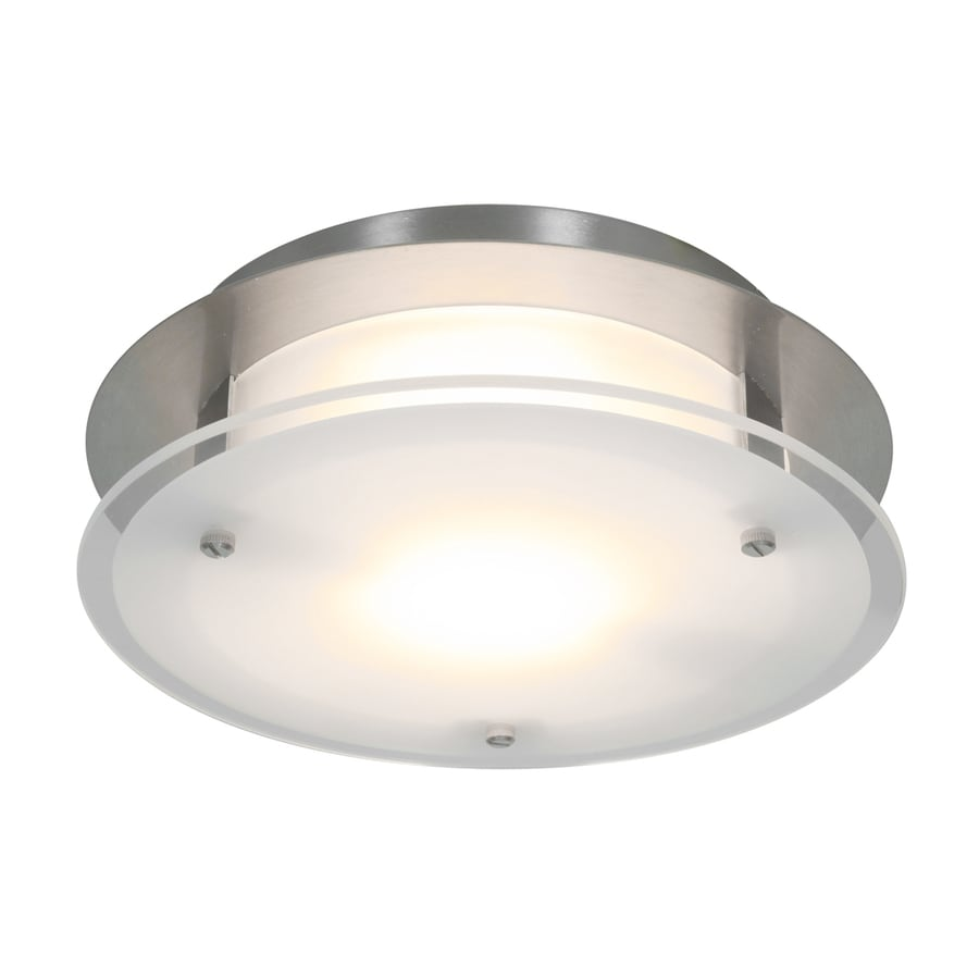 Access Lighting Visionround 10-in W Brushed Steel Frosted Glass Semi-Flush Mount Light
