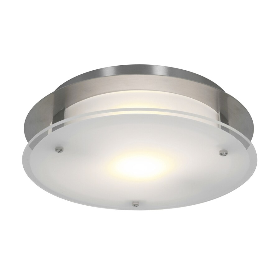 Access Lighting VisionRound 12-in W Brushed steel Frosted Glass Semi-Flush Mount Light