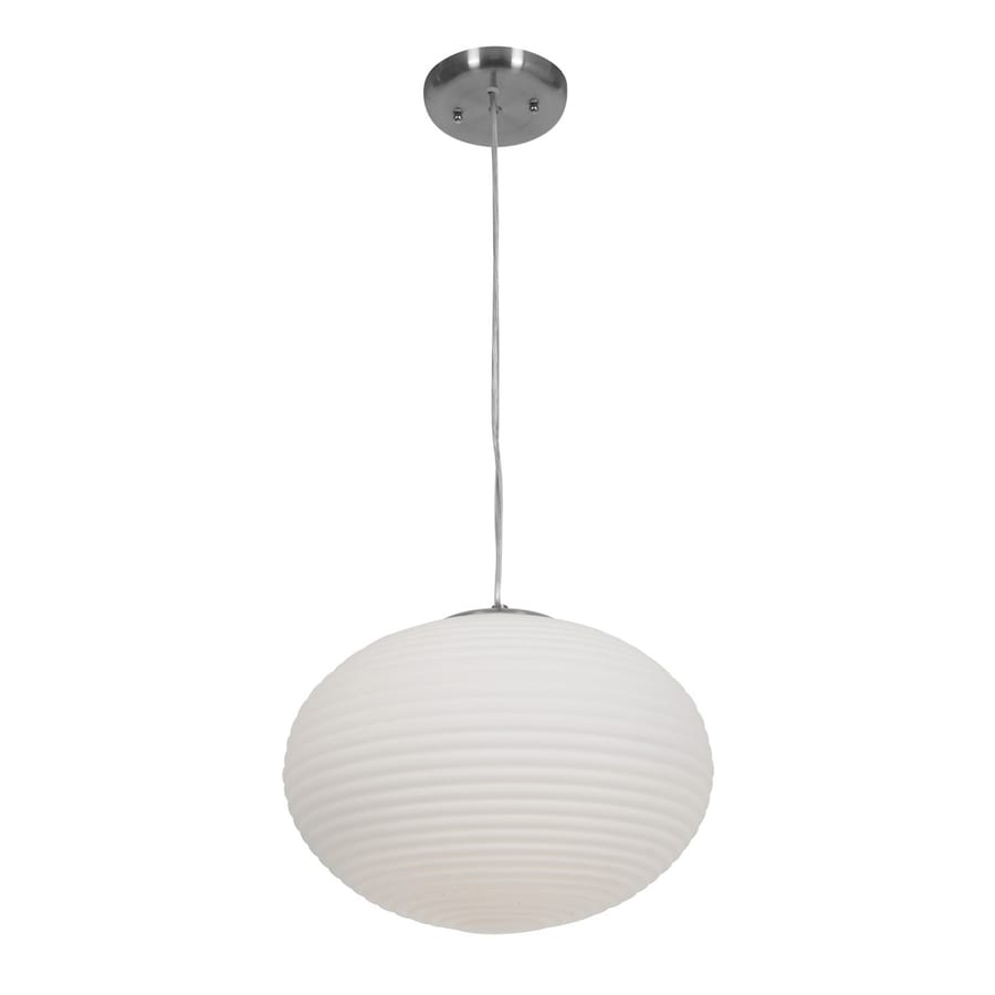 Access Lighting Callisto 15-in Brushed Steel Single Ribbed Glass Globe Pendant