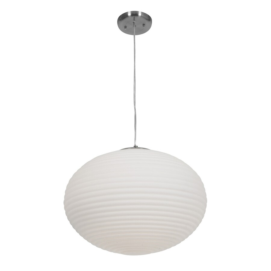 Access Lighting Callisto 18-in Brushed Steel Single Ribbed Glass Globe Pendant