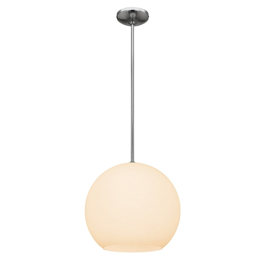 Access Lighting Nitrogen 14-in Brushed Steel Single Globe Pendant