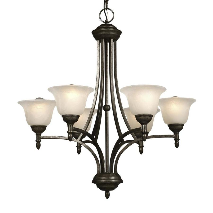 Galaxy Reagan 25.75-in 6-Light Medieval Bronze Mediterranean Marbleized Glass Shaded Chandelier