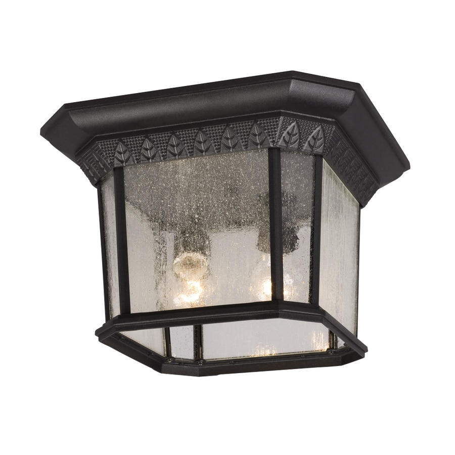 Galaxy 13-in W Black Outdoor Flush-Mount Light