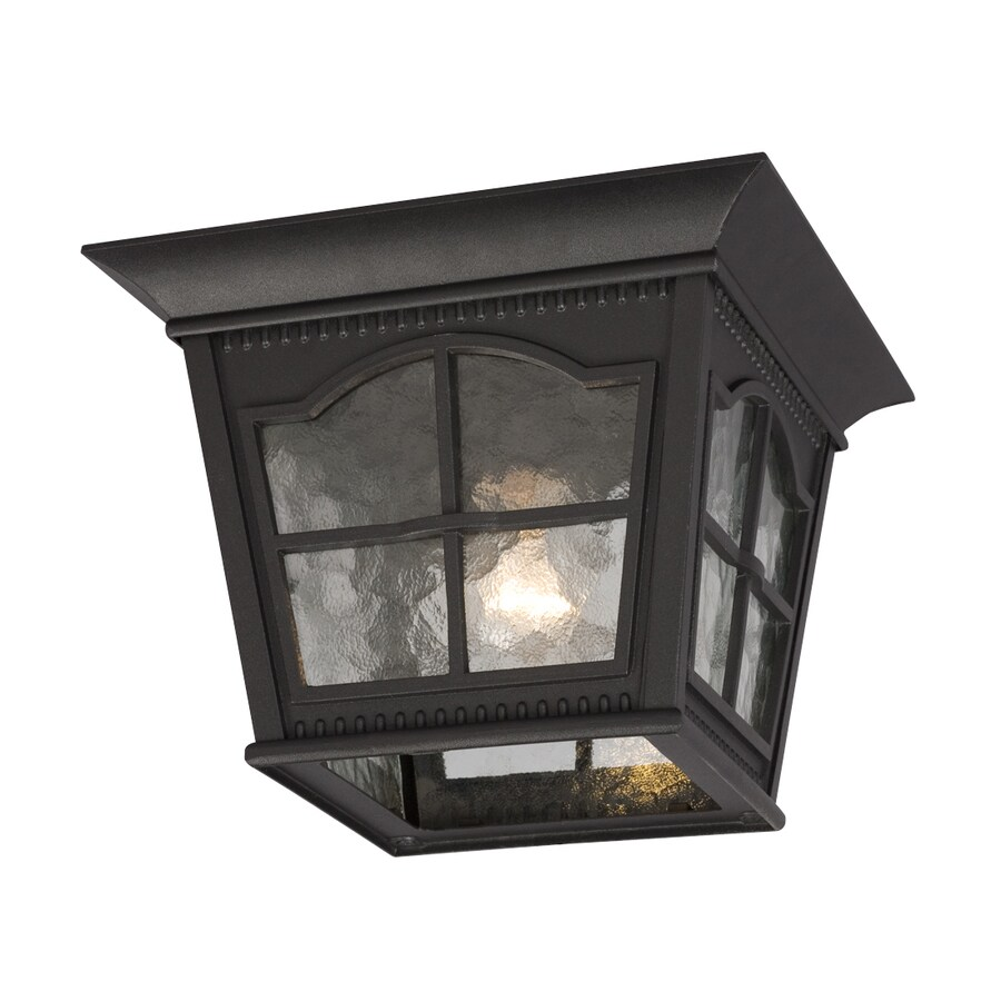 Galaxy 10.87-in W Black Outdoor Flush-Mount Light