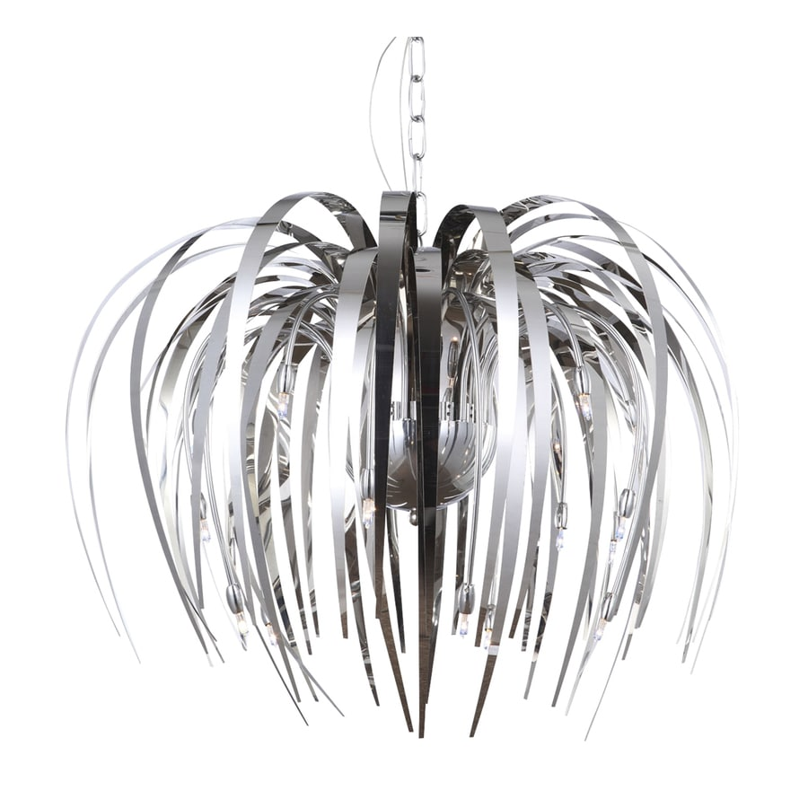 Galaxy Cascade 25.62-in Polished Chrome Single Mirrored Glass Pendant