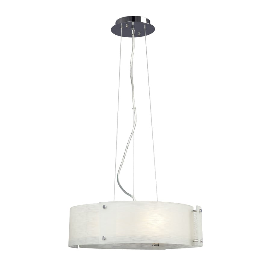 Galaxy Madeo 18-in Polished Chrome Industrial Single Textured Glass Drum Pendant