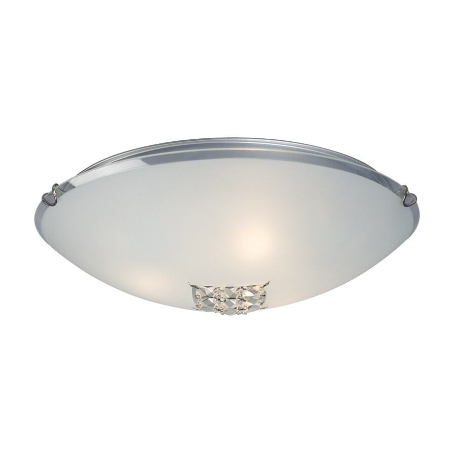 Galaxy 16-in W Polished Chrome Crystal Accent Flush Mount Light