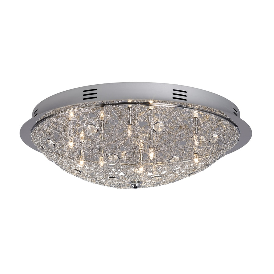 Galaxy 19.625-in W Polished Chrome Crystal Accent Flush Mount Light