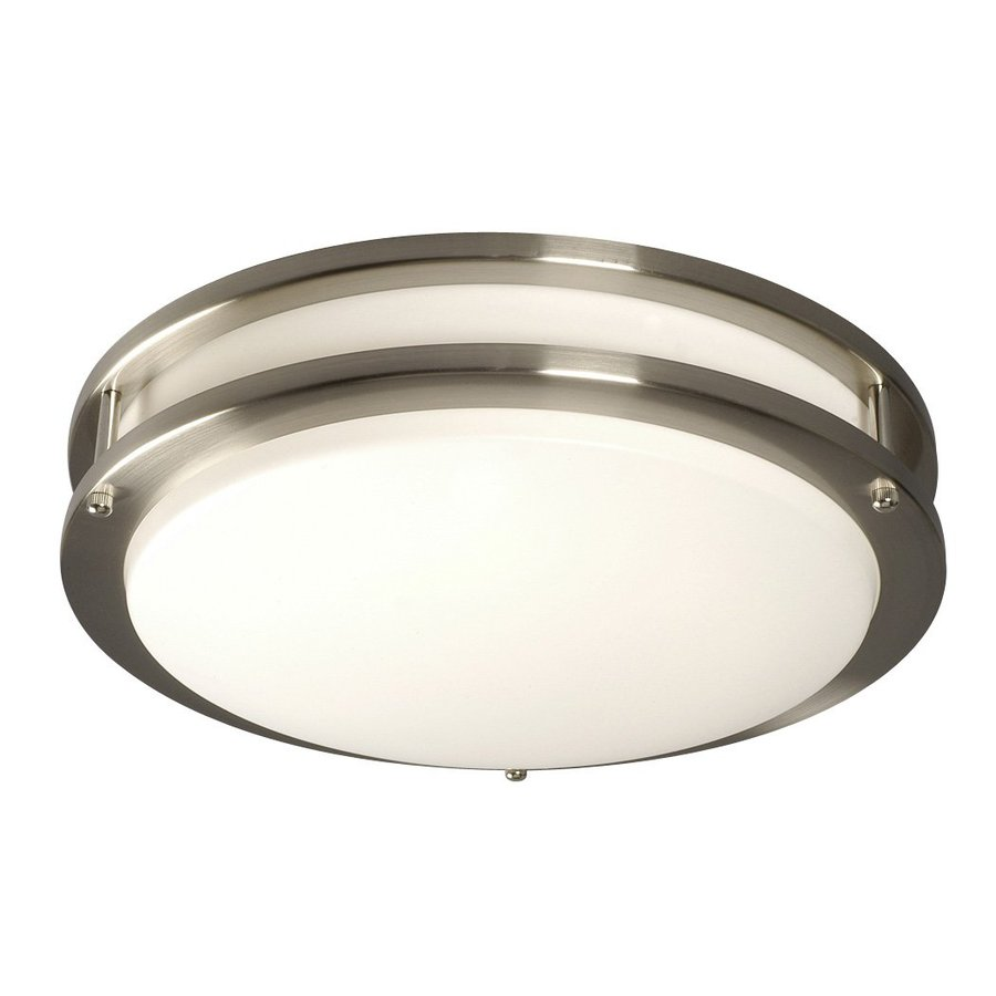 Lowes Fluorescent Light: Galaxy Brushed Nickel 14-in Flush Mount Fluorescent Light