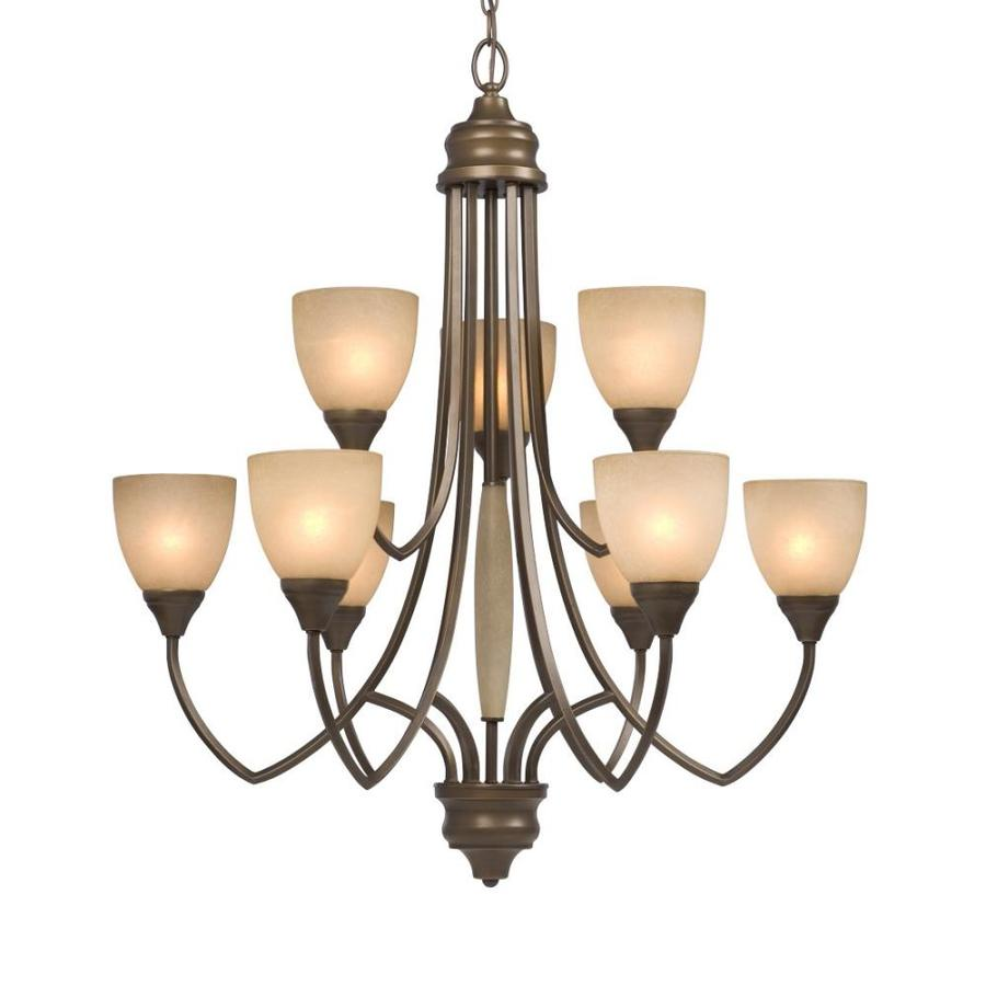 Galaxy Chelsey 31-in 9-Light Tuscany Mediterranean Tinted Glass Tiered Chandelier
