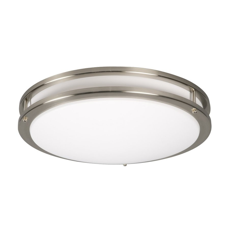 Galaxy Brushed Nickel 17.6-in Flush Mount Fluorescent Light