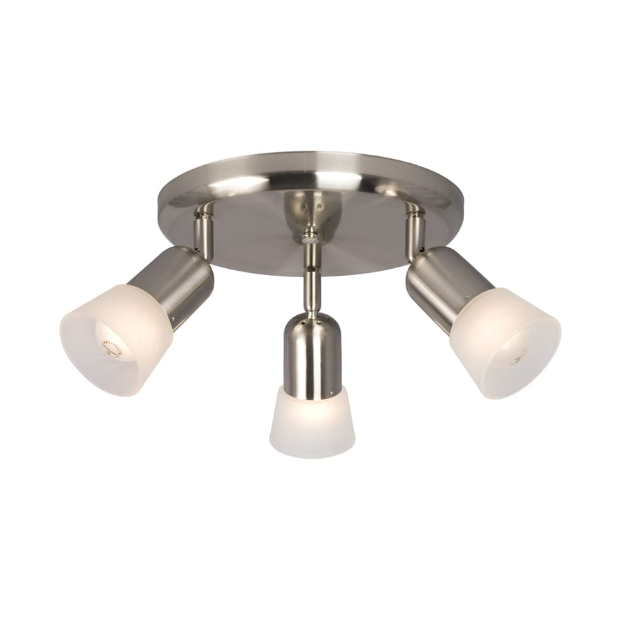Galaxy Luna III 3-Light 10-in Brushed Nickel Flush Mount Fixed Track Light Kit