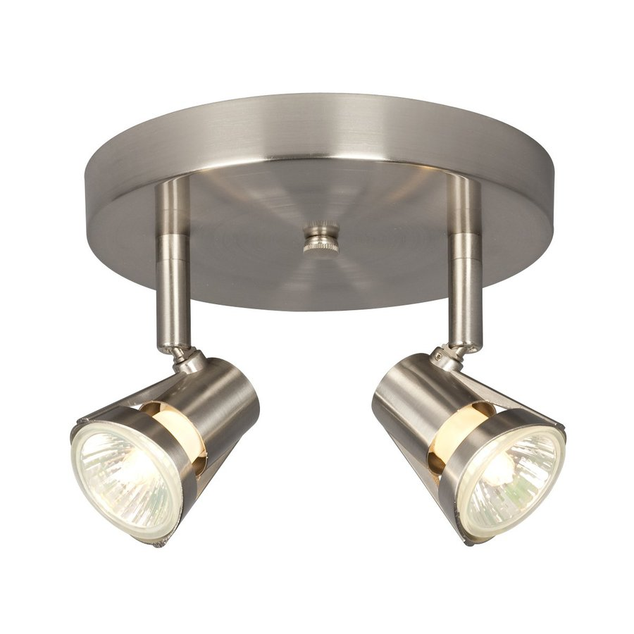 Galaxy 2-Light 7-in Brushed Nickel Flush Mount Fixed Track Light Kit
