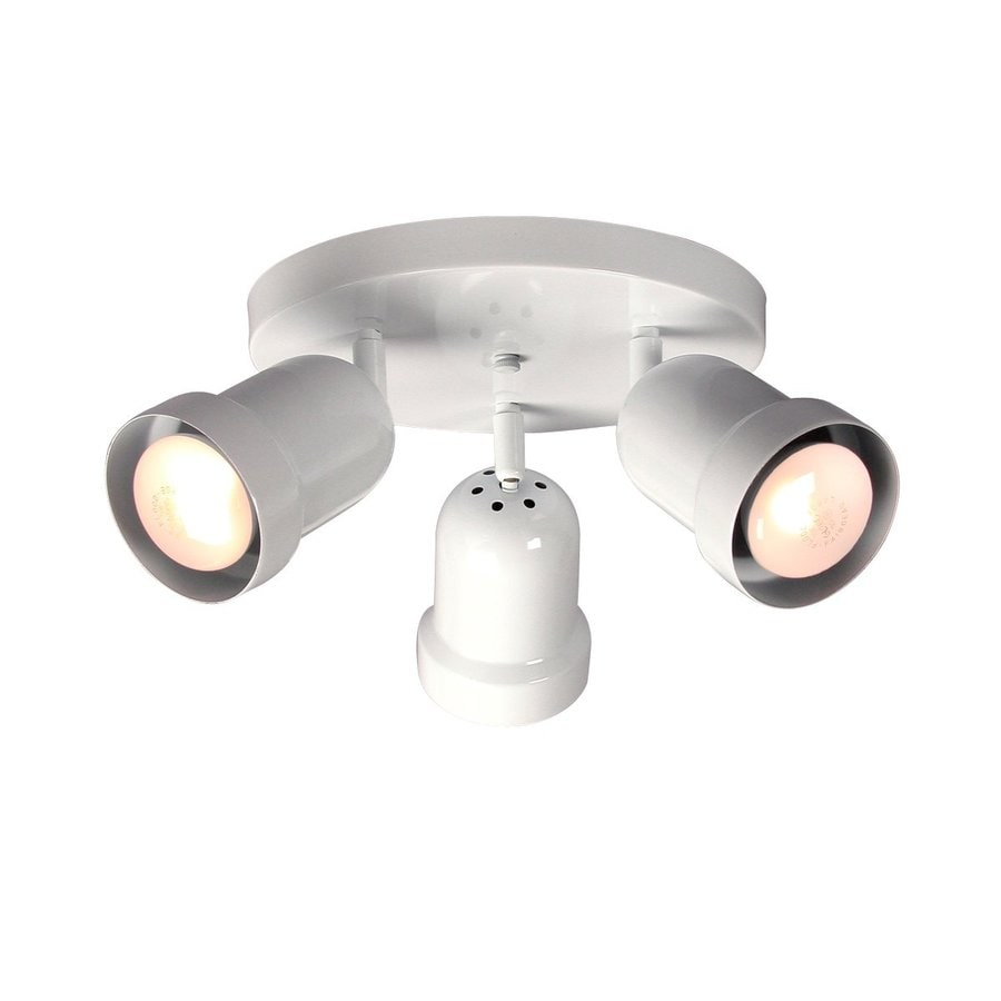 Galaxy 3-Light 10.125-in White Flush Mount Fixed Track Light Kit