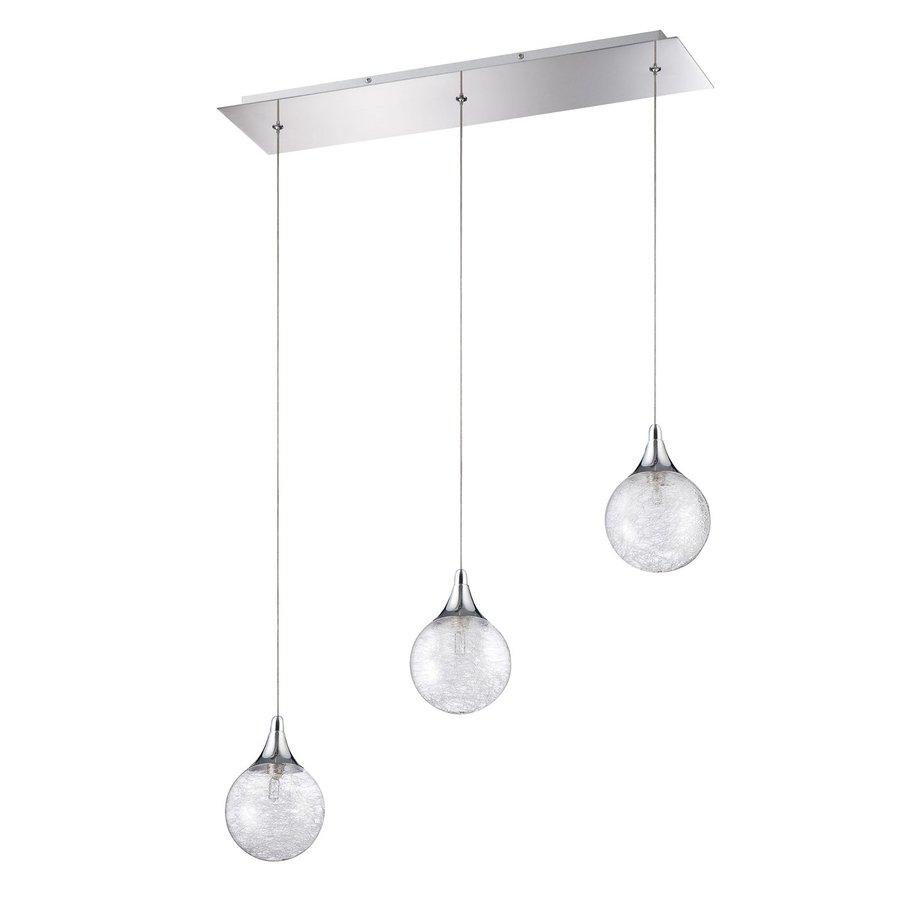 Kendal Lighting 23.5-in Chrome Wrought Iron Multi-Light Textured Glass Globe Pendant