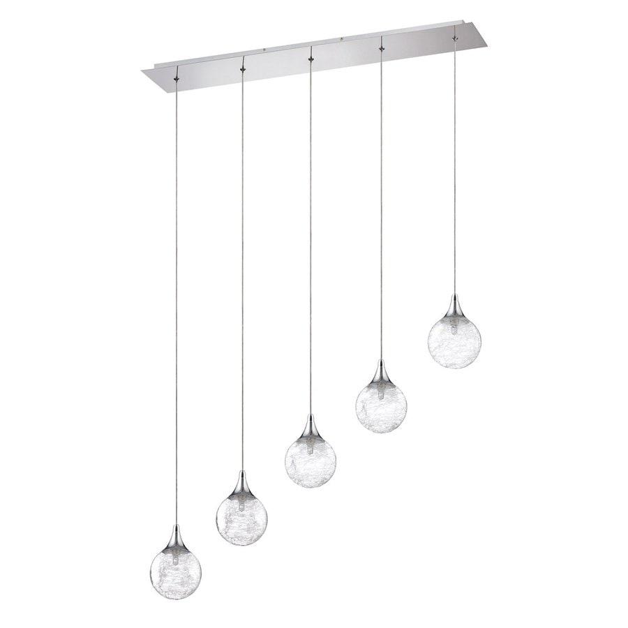 Kendal Lighting 33.5-in Chrome Wrought Iron Multi-Light Textured Glass Globe Pendant