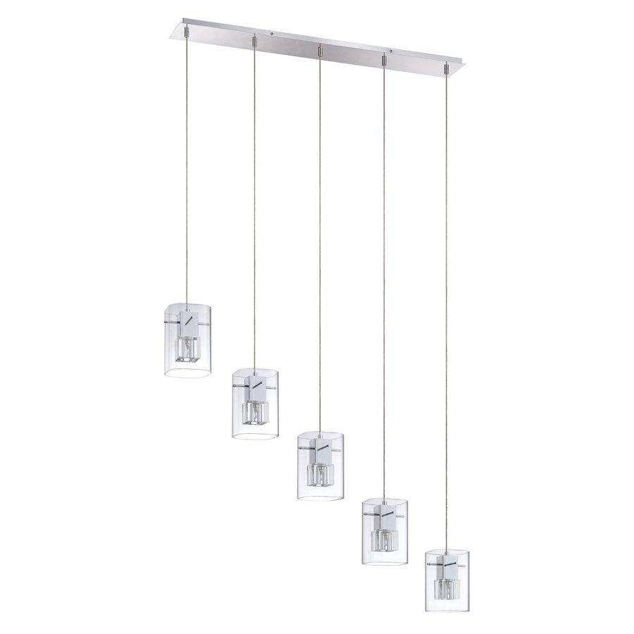 Kendal Lighting 38.25-in Chrome Industrial Multi-Light Clear Glass Rectangle Pendant