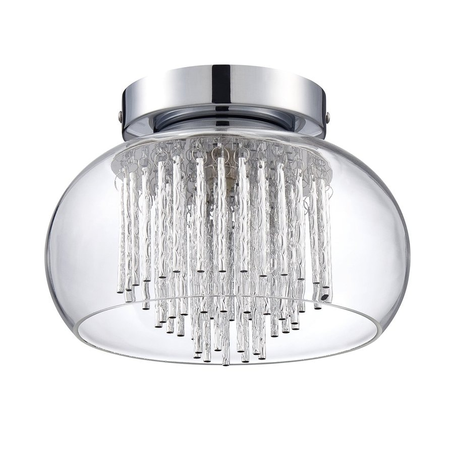 Kendal Lighting 9-in W Chrome Clear Glass Semi-Flush Mount Light