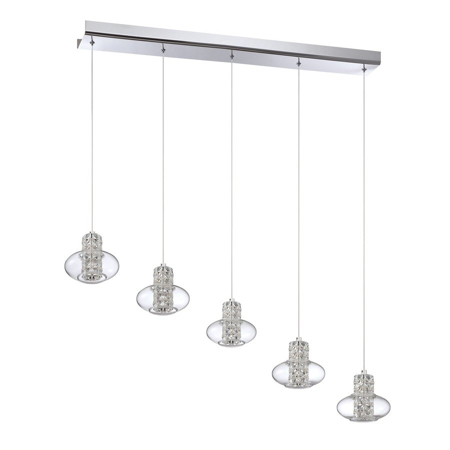Kendal Lighting 42-in Chrome Crystal Multi-Light Clear Glass Pendant