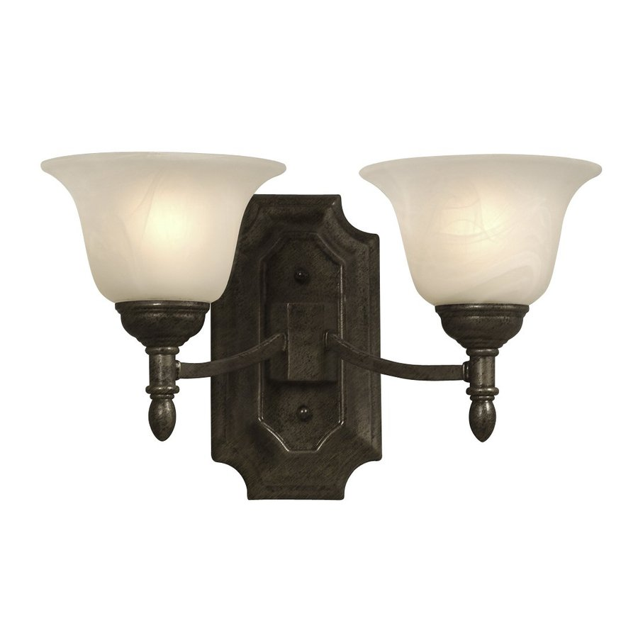 Galaxy Reagan 14.25-in W 2-Light Medieval Bronze Arm Wall Sconce
