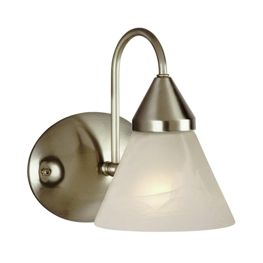 Avila Wall Light With Glass Shade : Shop Galaxy Avila 6.75-in W 1-Light Brushed Chrome Arm Wall Sconce at Lowes.com