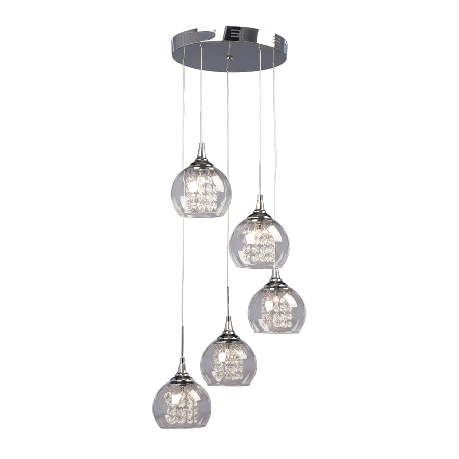 Shop Galaxy Rihanna In Polished Chrome Crystal MultiLight - 5 pendant light fixture