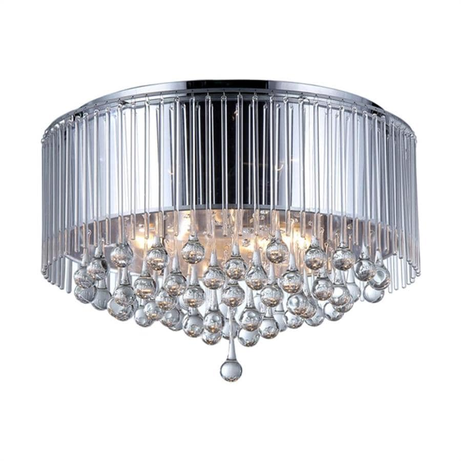 Warehouse of Tiffany Crystal 25-in W Chrome Crystal Accent Flush Mount Light