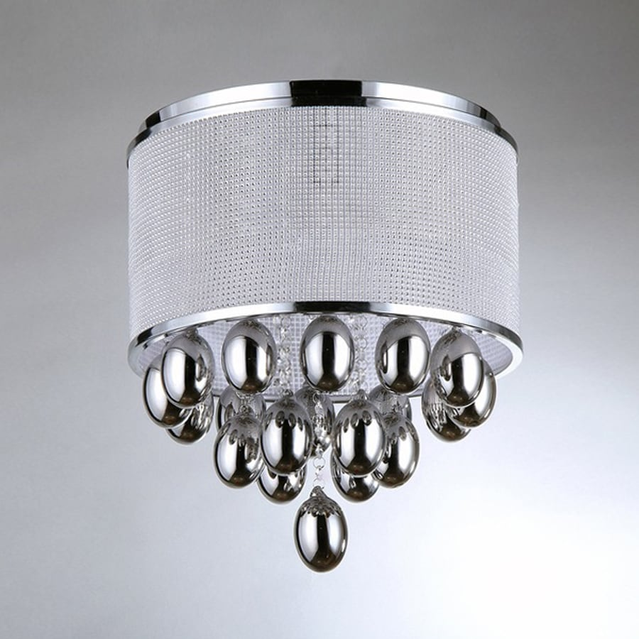 Warehouse of Tiffany Crystal 15-in W Chrome Crystal Accent Ceiling Flush Mount Light