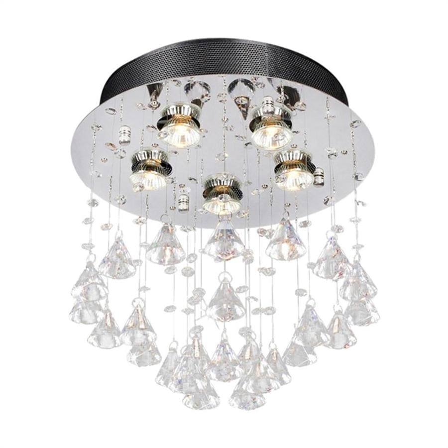 Warehouse of Tiffany Crystal 14-in W Chrome Crystal Accent Flush Mount Light