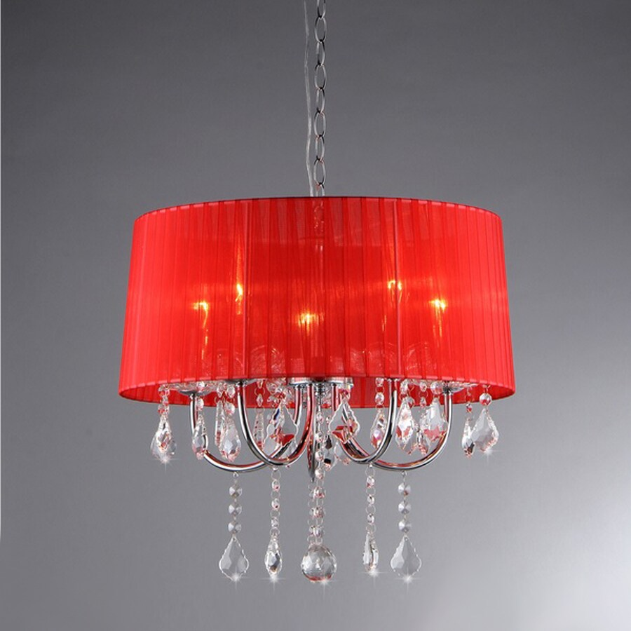 Warehouse of Tiffany 18-in 5-Light Chrome Vintage Shaded Chandelier