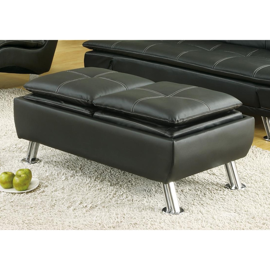 Coaster Fine Furniture Modern Black Vinyl Ottoman