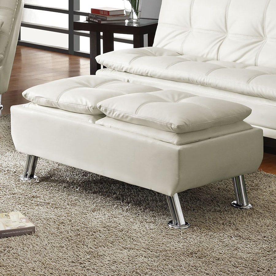 Coaster Fine Furniture White Rectangle Ottoman