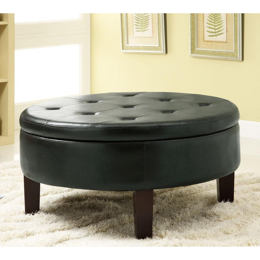 Coaster Fine Furniture Black Vinyl Round Ottoman
