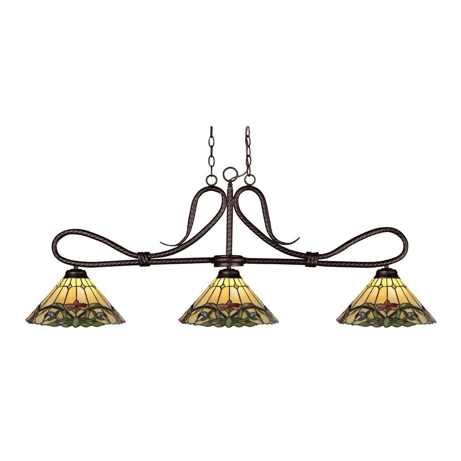 Z-Lite Cobra 14-in W 3-Light Bronze Kitchen Island Light with Tiffany-Style Shade